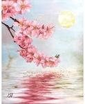 柏尾川に映る桜を描いた作品。背景の満月は金箔を使用している