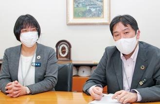 同事業を説明する新川さん(右)と梅垣さん