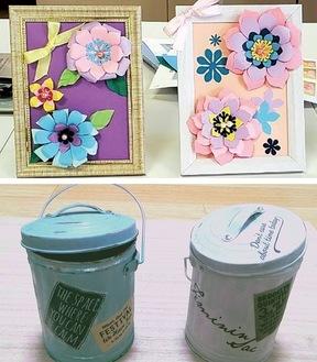 田中さんが作り方を指導した手芸品。封筒の裏紙で作った「フォトフレーム」(上)と、空き缶をペイントした小物入れ