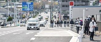 新たに整備された岡津町交差点付近