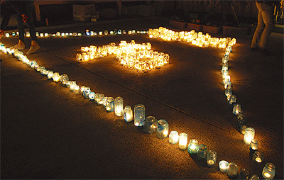 東海道に火灯り