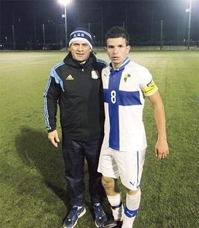 アグスティン選手(右)とオルテガ監督