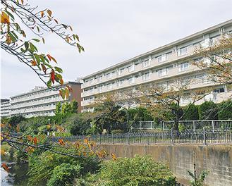 いたち川から望む南小菅ケ谷住宅