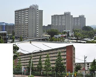 地区計画区域となる本郷台駅周辺(上)と売却される国家公務員住宅跡地