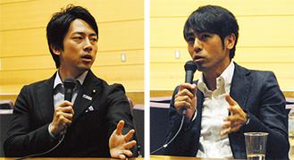 議論を交わす小泉氏と寺岡氏(右)