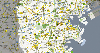 「Googleマップ」を駆使した形で詳細震度情報を閲覧できる(アドレスはhttp://yokohama.jishin.net/)