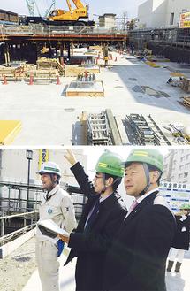 ▲2月27日、金沢区役所の建て替え現場で最新の免震装置の説明を受ける。震度7クラスにも耐える設計で津波対策も想定。公会堂の建て替え含め総事業費は100億円で2018年度完成。