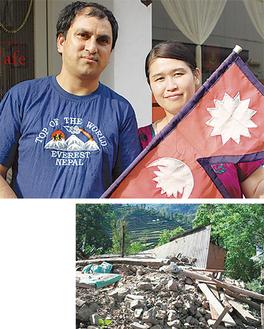 復興を願う夫妻=写真上、崩壊した家=ラナバットさん提供