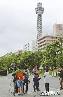 市内での撮影の様子