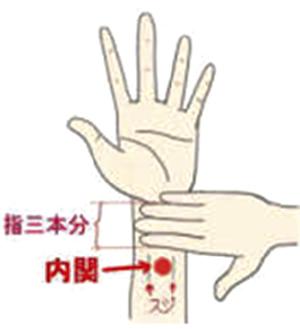手首の横じわから肘の方向へ指3本分のところ。中央が内関。