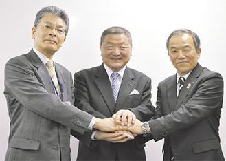 林経済局長、木村副理事長、浦川理事長(右から)
