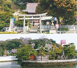 瀬戸神社=写真上=と琵琶島神社