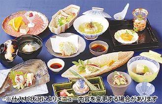 京懐石をベースにした料理の数々。メニューは月替わり(写真は5月)