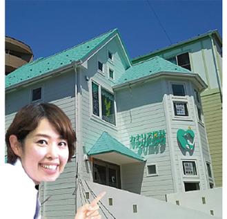 緑の屋根が目印