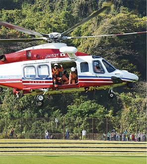 離陸するヘリコプター