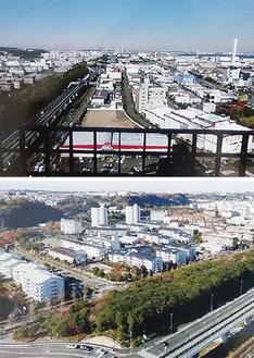 金沢緑地をはさみ、海側に工業用地、陸側に住宅団地が広がる