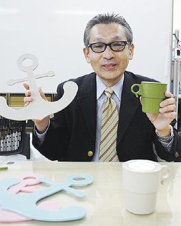 開発したエコ製品と佐野教授
