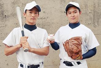 堀井主将(左)と田中投手