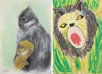 昨年の小学生・幼児部門(右)と大人部門(左)の受賞作品