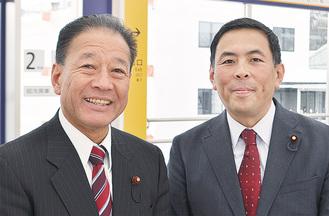 市会議員のやたべ孝一氏(左)としのはら豪氏