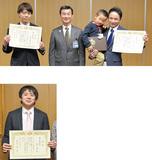 右から伊藤さん、息子の仁くん、小林区長、加藤さん。写真下は鈴木さん
