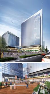 2棟のビル(左からEAST棟、WEST棟)とペデストリアンデッキの完成イメージ