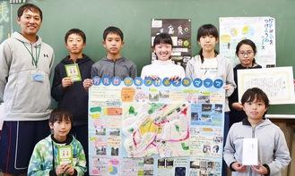 左下から時計回りに、川野智基さん、左近教諭、平野さん、中村怜央さん、池ヶ谷璃夏さん、出口歩実さん、小林さん、吉田櫂さん