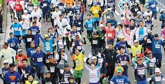 過去の横浜マラソンの様子