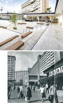 団地の集会場OPEN RING(上・写真 太田拓実)と昔の洋光台駅前