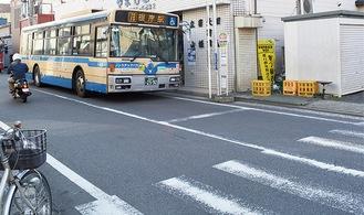 B判定となった磯子区の仲之町バス停
