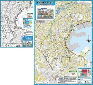 今回公開された磯子区のマップ(右)、以前のマップ(上)と比べて区域全体に2〜20cmの浸水想定の黄色が広がった