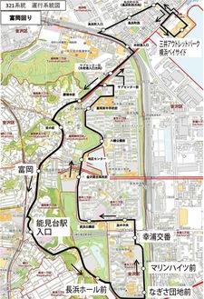 富岡回りの運行系統図