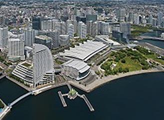 上空から見たパシフィコ横浜
