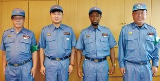 大須賀団長、アポロさん、張さん、角田分団長(右から)