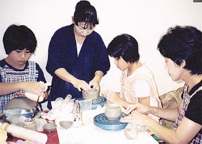夏は親子で陶芸