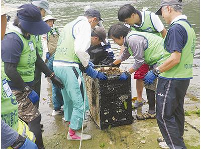 被災地で海底清掃