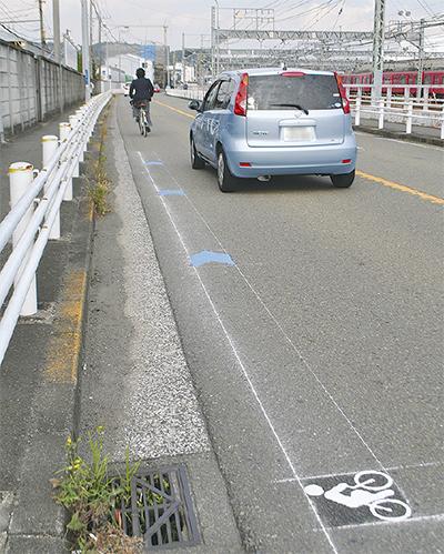 自転車の路面表示を設置