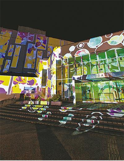 区庁舎彩る光のアート
