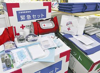 支部に展示されている救援物資