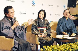 大島紬で着飾り語る黒岩知事