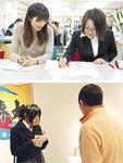 校正の指導を受ける駒場さん(上段右)と、取材に挑戦する菅野さん