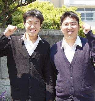 優勝した伊勢谷君(左)と平野君