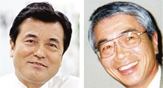 講演する中野義人氏(右)と城島光力財務大臣