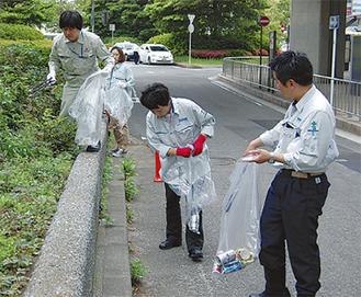 桜木町駅前などを清掃した