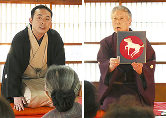 巧みな話芸を展開した金原亭馬治さん(左)と即興で切り絵を披露した桃川健さん