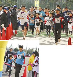 毎年人気のファミリーの部(上)と第1組で走った小原さん親子