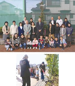各学年の代表児童が植樹式に参加(上)。児童1人ひとりがスコップで植樹をお手伝い(右)