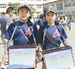 浸水被害のあった大崎市に寄付を募る子ども