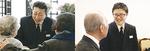 会場で参列者と交流するスタッフ