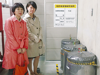 汚染汚泥はドラム缶に入れて学校に保管され続けています